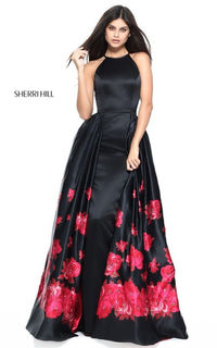 2017 Black/Red Satin Floral Printed Long Prom Dress By Sherri Hill
