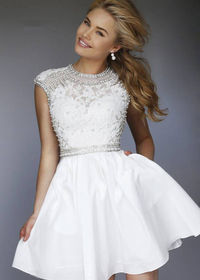 Amazing Beaded Lace Embroidered Ivory Cut Open Back Homecoming Dress