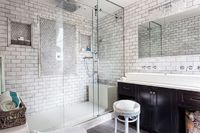 Bathroom renovation by Samantha Knapp of Tiger Lily's Greenwich and Mitch Kidd of Wellbuilt (except the trough sink)