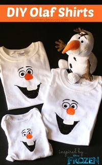Disney Frozen Craft DIY Olaf Shirts - easy to make and SO cute
