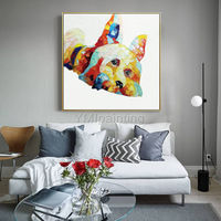 Pet Portrait Dog Acrylic paintings On Canvas Original art large Wall art cuadros abstract Pop Art animal art palette knife Wall pictures $89.00