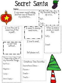Secret Santa Questionnaire for Teachers FREE