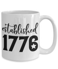 Established 1776 white ceramic coffee mug gift for veterans patriots memorials americana $15.95