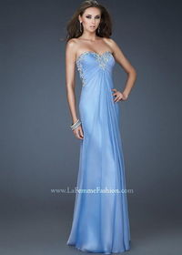 Long Blue Beaded Lace Applique Neck Strapless Prom Dress