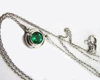 Emerald Pendant Round Pendant Top Quality Emerald Gemstone Pendant Round Pendant Minimalist pendant 14K White gold May Birthstone $2122.00