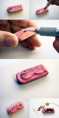 make your own rubber stamp out of an eraser!