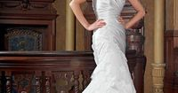 Fashionable trumpet / mermaid dropped waist tulle wedding dress