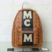 MCM Small Stark Micro-Studs Logo Stripe Backpack In Brown