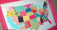 Great way to use up fabric scraps! This fab idea can be used for other countries, shapes, letters etc.