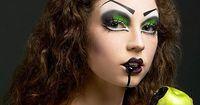 Halloween Eye Makeup Ideas | Great makeup for Halloween . Eve biting into the apple.