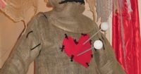 Voodoo Doll costume w/face covered--used Styrofoam sheet within costume to stab pins into