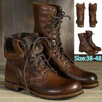 Men Fashion Winter Round Toe Leather Motorcycle Martin Boots 2018 Man Lace Up High Top Boots Outdoor Casual Shoes Plus Size 38- $52.00