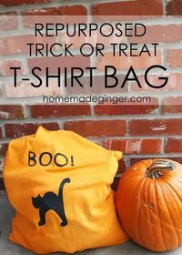 DIY Halloween Treat Bag : DIY Repurposed Trick or Treat T-Shirt Bag