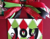 Holiday 8x10 Christmas Joy red green black diamond harlequin door hanger sign hand painted painting art decor ornament gift