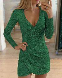 Fashion Sexy Elegant Party Mini Bodycon Sequin Women Dresses