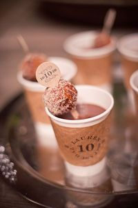 hot chocolate and a donut for a winter wedding
