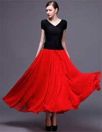 Flowing Ankle Length Red Chiffon Dance Prom Skirt