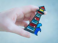 Lighthouse pin, Stained glass Lighthouse brooch, Lighthouse stained glass ornament, Lighthouse Jewelry, cloisonne brooch $28.00