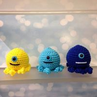 Set of 3 Handmade Minion Octopus crochet toy $20.00