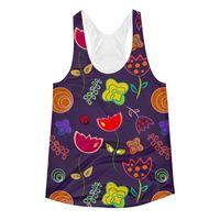 Exclusively from And Above All YOGA --- �€œRoyal Flowers�€ Women's Racerback Tank Top for just $34.00 with FREE SHIPPING