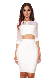 White Mesh Half Sleeves Herve Leger Two Pieces Bandage Dress 2015