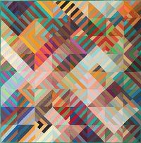 """COMPOSITION by Michael James 1986. Machine-pieced and machine-quilted cotton and silk, signed and dated """"M. James © 1986"""" at lower left. 53 x 53 inches. $9000"""