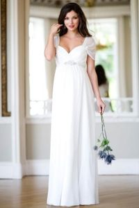 Chic Chiffon Sweetheart Long Garden Maternity Wedding Gown With Cap Sleeves
