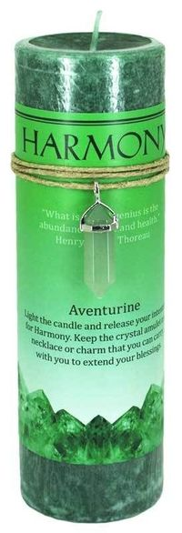 Look what's new! Harmony Pillar Candle with Aventurine Pendant just in at The Ancient Sage!