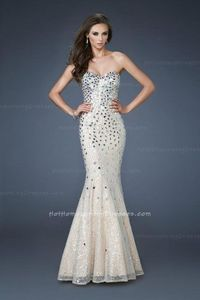 Affordable Long Mermaid Prom Dress Nude with Iridescent Beading