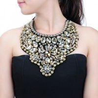 Fashion Women's Rope Chain Crystal Glass Acrylic Pendant Bib Necklace Jewelry