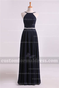 Beaded Halter Neck Long Navy Prom Dresses with Open Back