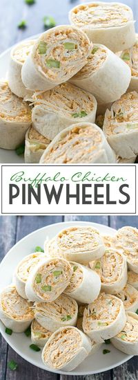 An easy recipe and video for Buffalo Chicken Pinwheels made with shredded chicken and everything you love about Buffalo Chicken in one tasty appetizer.