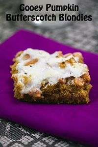 Pumpkin Butterscotch Blondies--a nice change up from the typical pumpkin bars with cream cheese frosting. I set the oven to broil for the last 1-2 minutes of baking to help toast the marshmallows. I used butterscotch chips like the recipe called for but I...