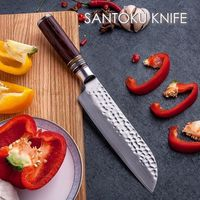 Santoku knife Laminated Damascus steel VG10 Chef knife kitchen cooking home tool $102.00