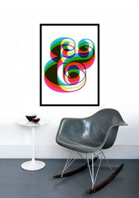 Typography poster print Retro graphic design font mid century modern kitchen art office - Ampersand 50 x 70 cm poster