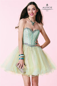 Short Water Beaded Homecoming Dress by Alyce Paris 3659