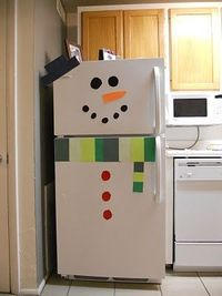 Snowman fridge Ha! Fun and cute! I think I'd like to do this after Christmas for a snow day