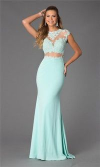 Jovani 24404 Mint Lace Illusion High Neck Long Prom Dress