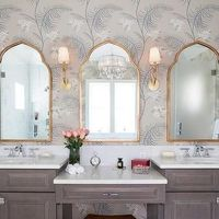 Brown Bath Vanity with Gold Mirror