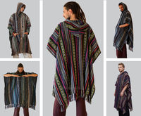 Poncho, Mens Hippie Long woven poncho with Hood, Pure cotton Festival poncho $50.00