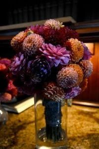These are the flowers I would like to put on each table, the colors and shapes.