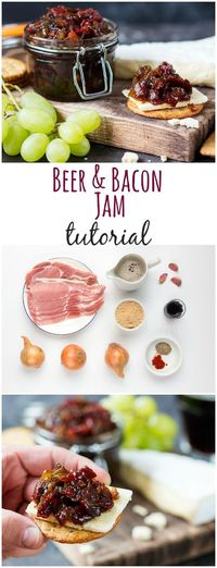 Deliciously rich bacon + beer jam: the perfect addition to your cheese board.