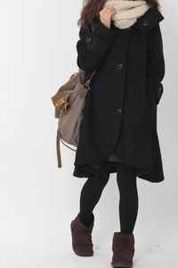 Black cloak wool coat Hooded Cape women Winter wool coat