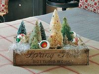 Maybe a display for my favorite pieces of grandmas old village... Vintage Christmas in a Crate <3