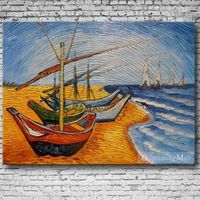 Hand Painted Reproduction Fishing Boats On The Beach By Van Gogh