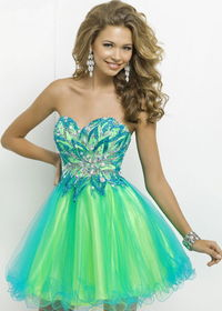 Two Tone Crystal Beaded Turquoise Lime Strapless Party Dress