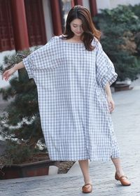 Women's Bat sleeves Soft Dark blue and white grid Cotton Dress, Lcotton dress handmade, Maxi Dresses, Cotton dress handmade