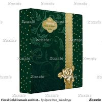 Floral Gold Damask and Dots 1.5 inch 3 Ring Binder