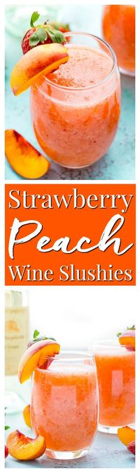 Strawberry Peach Wine Slushies are made with just a few ingredients and a blender. Mix them up for a night with the girls or a summer day by the pool! via
