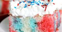 Red White & Blue Poke cake! Perfect for 4th of July, this cake is easy to make and always moist & delicious!